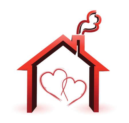 assure: couple loving house illustration design concept over a white background