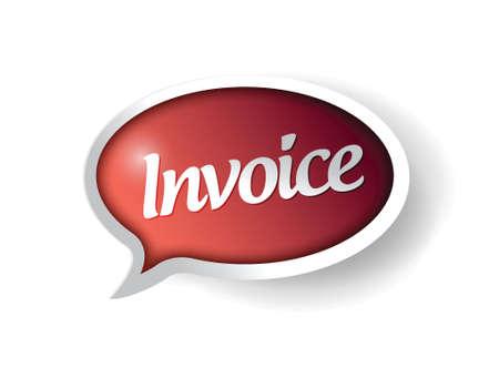 invoice message on a red speech bubble. illustration design Ilustração