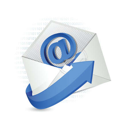 binary email illustration envelope design over a white background