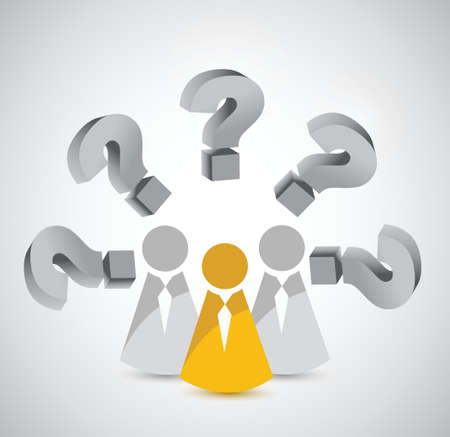 wondering: team with various question. coworkers illustration design over white