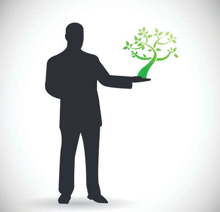 environmental suit: person holding a tree. natural eco concept illustration design Illustration