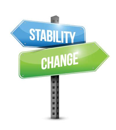 Stabilität und Wandel Schild Illustration, Design über einem weißen Hintergrund