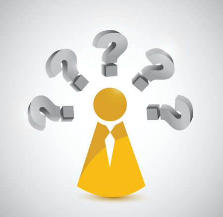 indecisive: person with various questions. illustration design over white Illustration