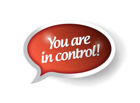 assertive: You are in control red message bubble illustration design