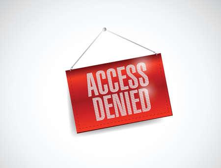 access denied: access denied hanging banner illustration design over white