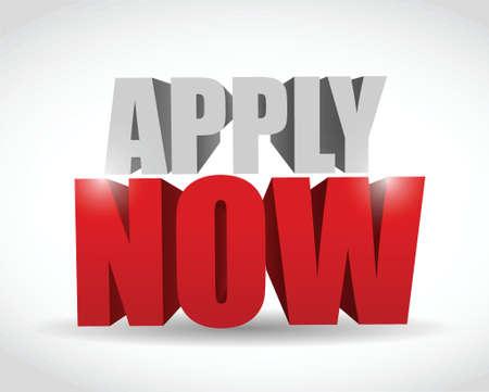 apply now 3d message illustration design over white Stock Vector - 23057841
