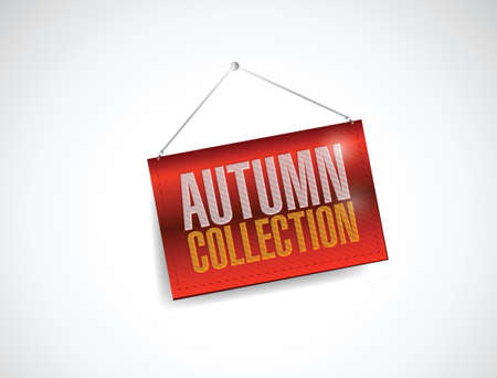 autumn collection hanging banner illustration design over white Vector