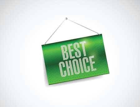 beste keuze opknoping banner illustratie ontwerp op wit Stock Illustratie