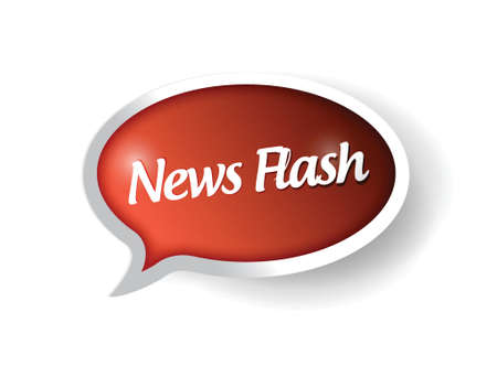 breaking news: news flash message on a speech bubble. illustration design over white