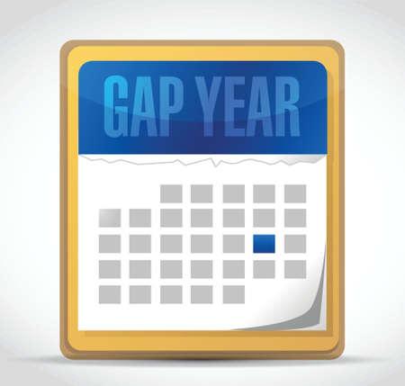 packer: gap year calendar illustration design over white Illustration