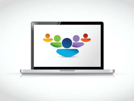 teamwork mensen samen te werken online. laptop illustratie ontwerp