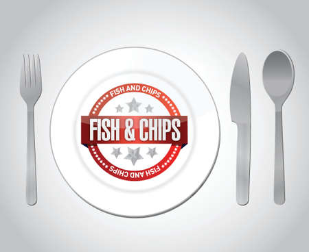 fish and chips: fish and chips restaurant concept illustration design over grey Illustration
