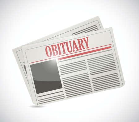 白色の背景上の死亡記事の新聞セクション イラスト デザイン