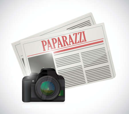 unwanted: paparazzi newspaper and camera concept illustration design over white