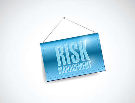 cautious: risk management blue business hanging banner illustration design over a white background Illustration