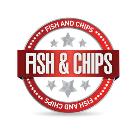 fish and chips: fish and chips seal illustration design over a white background Illustration