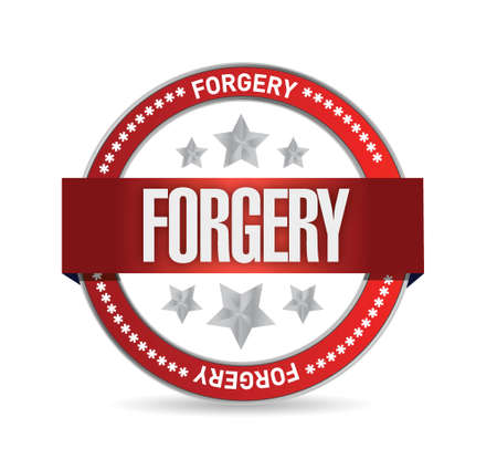mockery: seal with the word forgery. illustration design over a white background