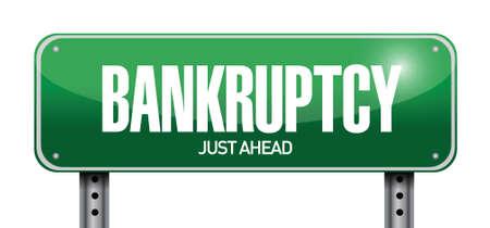 bankruptcy: bankruptcy road sign illustration design over a white background