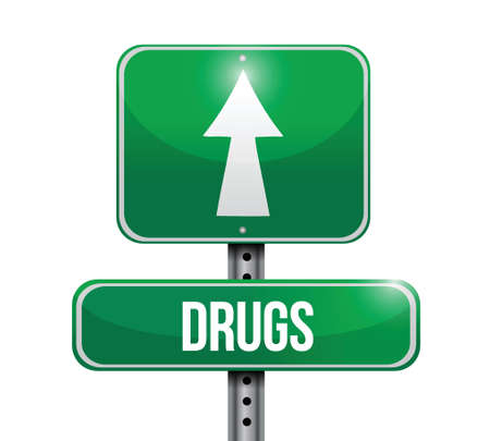 injected: drugs road sign illustration design over a white background