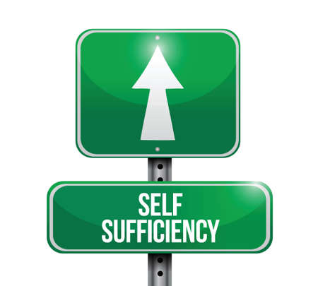 self sufficiency road sign illustration design over a white background