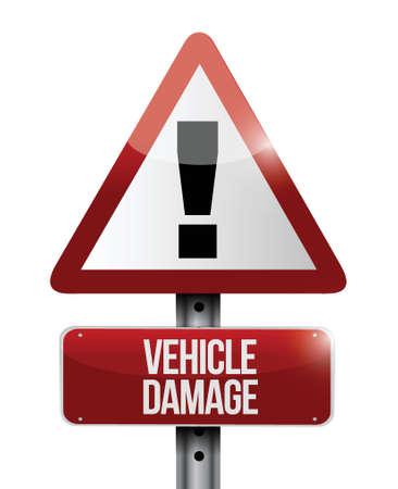 zarar: beyaz bir arka plan üzerinde araç hasar yol işareti illüstrasyon tasarımı Çizim