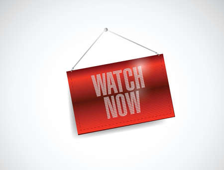 watch now hanging banner illustration design over a white background Stock Vector - 23057937