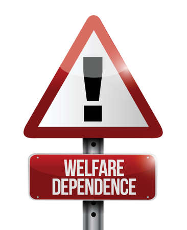 penniless: welfare dependency road sign illustration design over a white background
