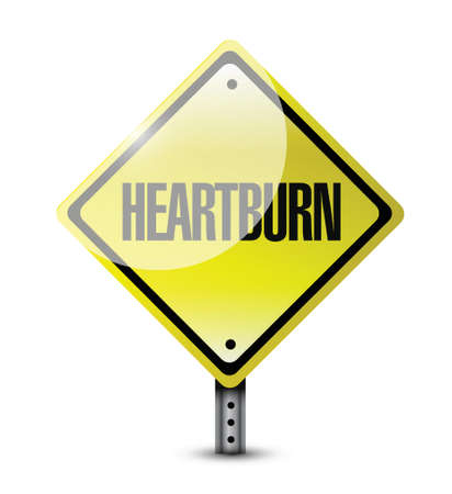 acid reflux: heartburn road sign illustration design over a white background