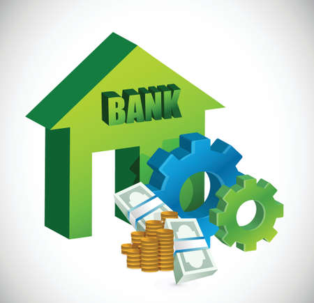 bank building: bank and gears illustration design over a white background Illustration