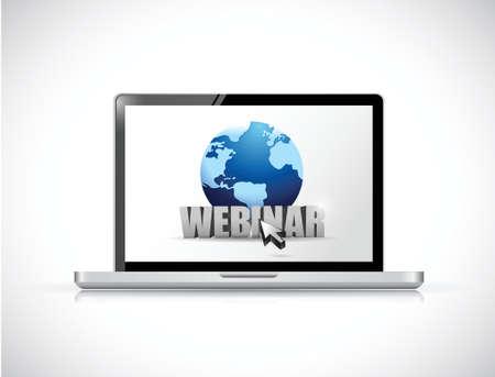 laptop and webinar sign illustration design over a white background