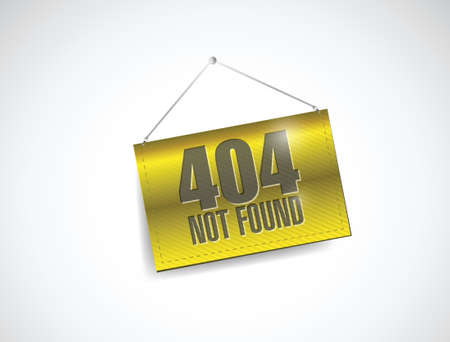 404 not found hanging banner illustration design over white Vector
