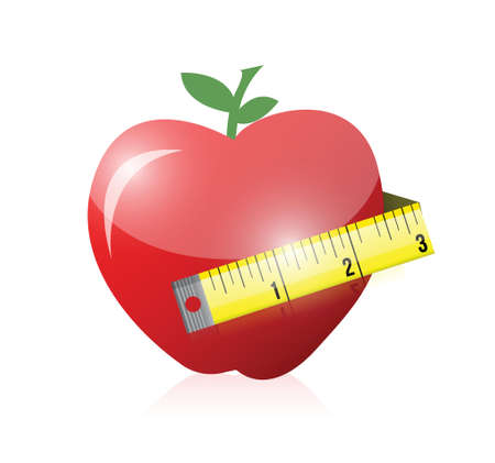 apple and measure tape illustration design over white