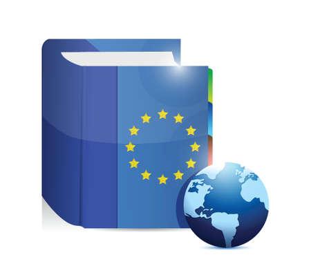 eu flag: euro book and globe illustration design over a white background