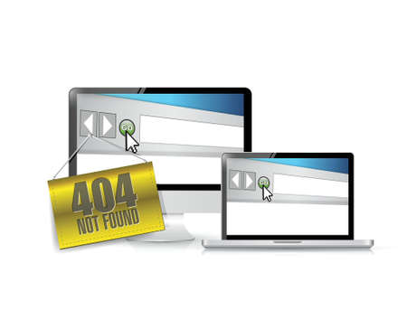 laptop repair: 404 not found hanging banner over electronics. illustration design over white Illustration
