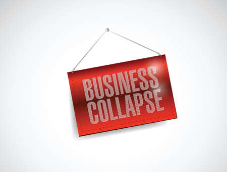 business collapse hanging sign illustration design over white