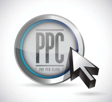 advertiser: pay per click button illustration design over a white background Illustration