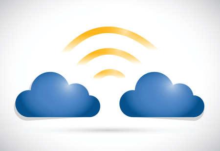 peer to peer: cloud computing conexión de red sobre un fondo blanco