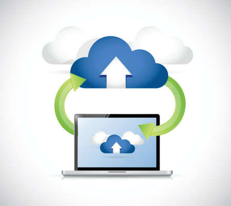 laptop connected to a set of clouds. arrows connection illustration design Vectores