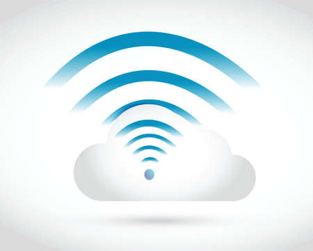 cloud connection wifi illustration design over a white background