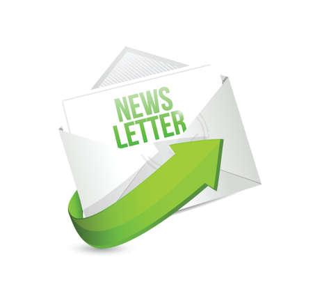 흰색 배경에 뉴스 레터 메일 또는 이메일 일러스트 디자인