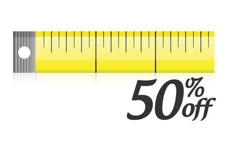 centimetre: measure your discount illustration design over a white background