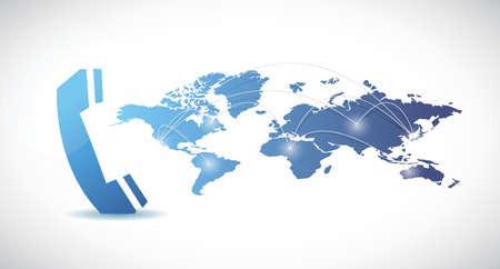 eco slogan: Mapa tel�fono y mundo del dise�o ilustraci�n sobre un fondo blanco