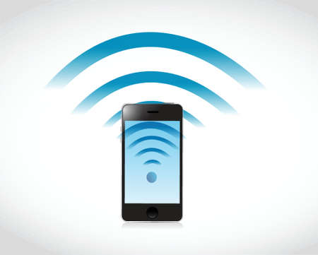phone connection wifi illustration design over a white background Vector