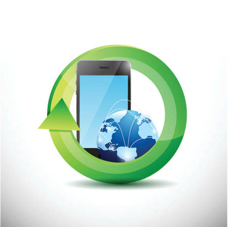 frontal view: phone and globe technology illustration design over white Illustration