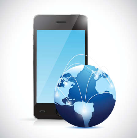frontal view: phone and world globe network illustration design over white