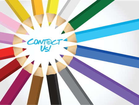 encircle: contact us message around a set of different color pencils. background