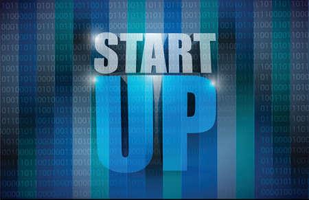 sponsorship: start up sign illustration design over a binary background