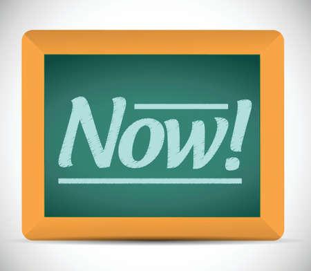 now message written on a chalkboard. illustration design over white Banco de Imagens - 23468573