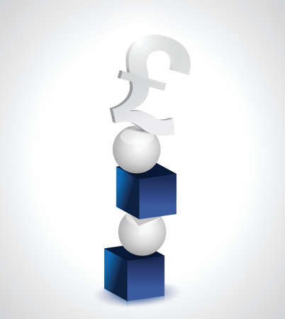 balance and pound currency illustration design over white