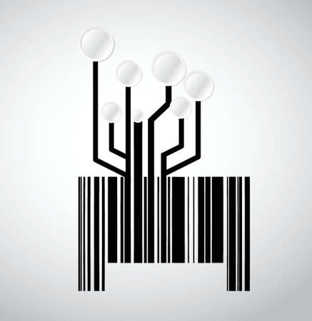 electronic background: black circuit electronic barcode illustration design over a white background